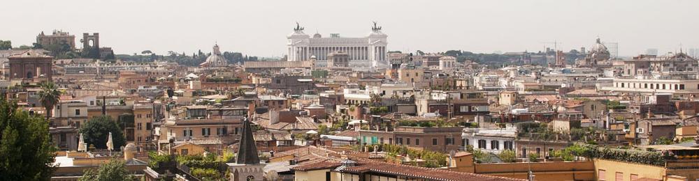 Centro storico di Roma con una vista speciale di Piazza Venezia e dell'Altare della Patria